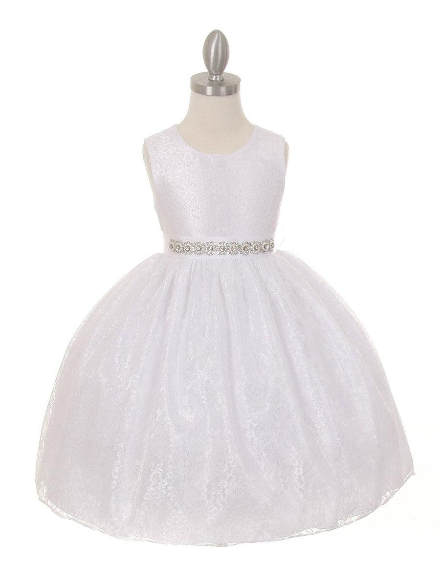 Hochzeit - Solid Lace Flower Girl Dress With Removable Rhinestone Belt