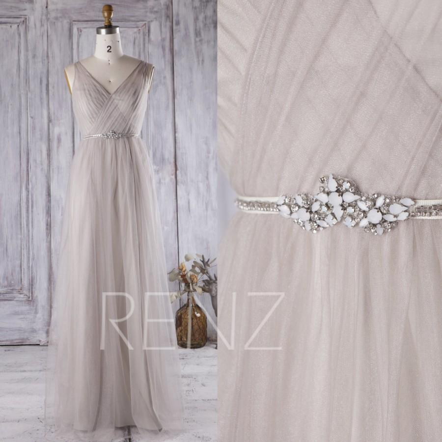 Свадьба - 2016 Light Gray Mesh Bridesmaid Dress, V Neck Wedding Dress, Long A Line Prom Dress, Open Back Evening Gown Floor Length (JS050)