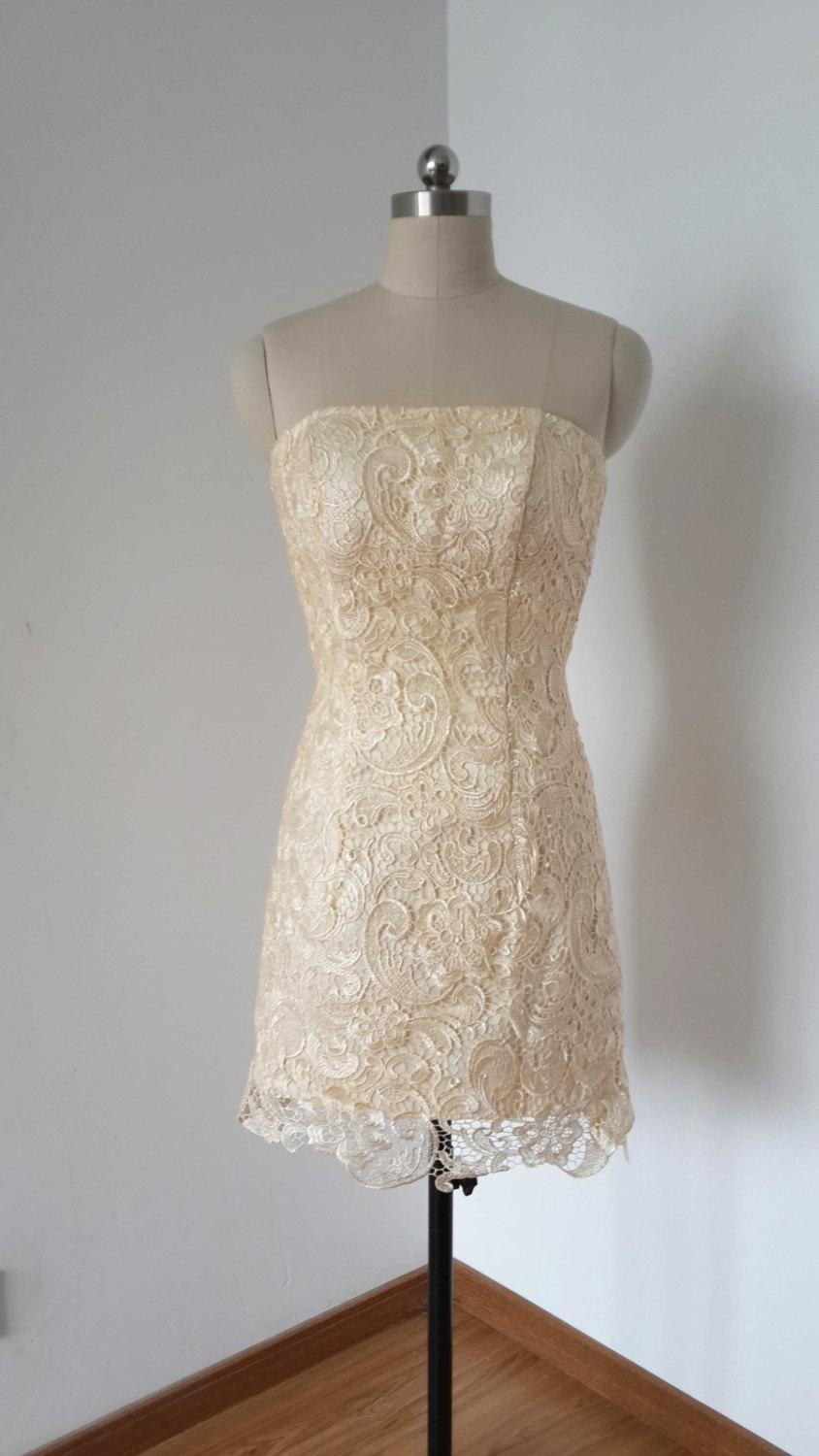 Свадьба - 2015 Strapless Champagne Lace Short Bridesmaid Dress
