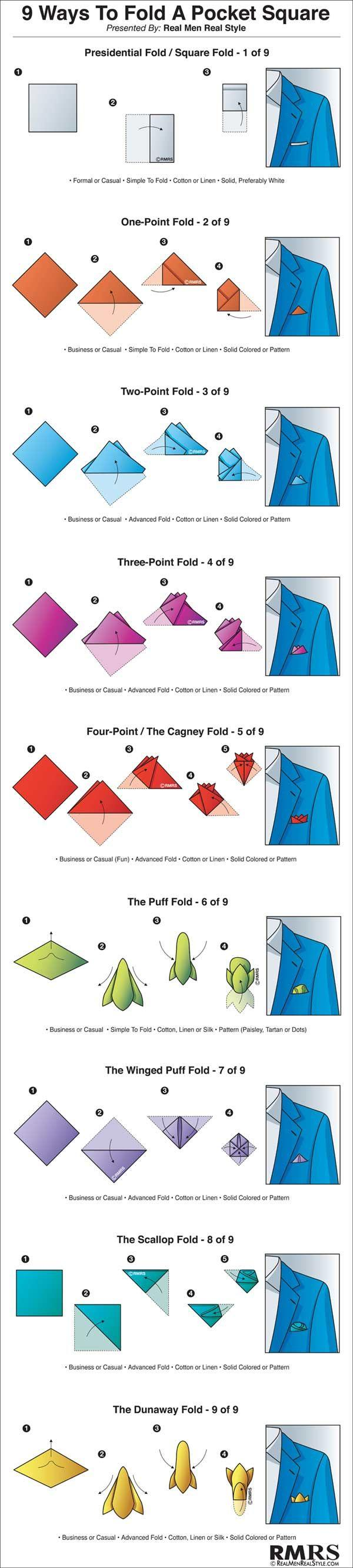 Свадьба - Step-by-step Guide For Every Pocket Square Fold You Could Ever Want!