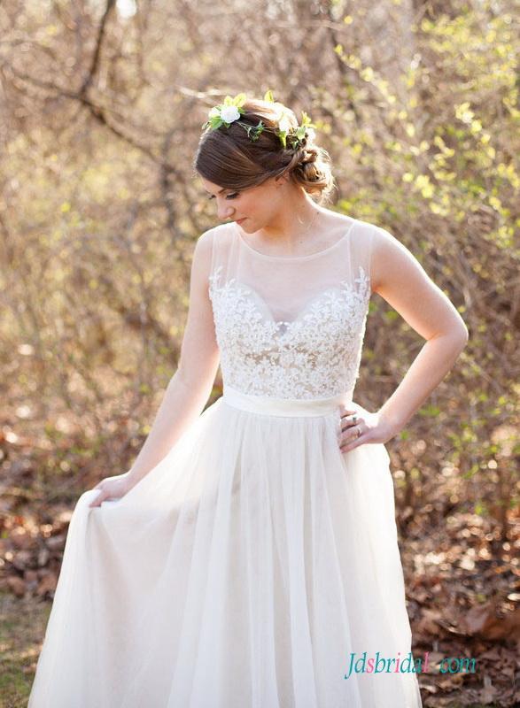 Wedding - Romance delicate beaded lace tulle flowy wedding dress