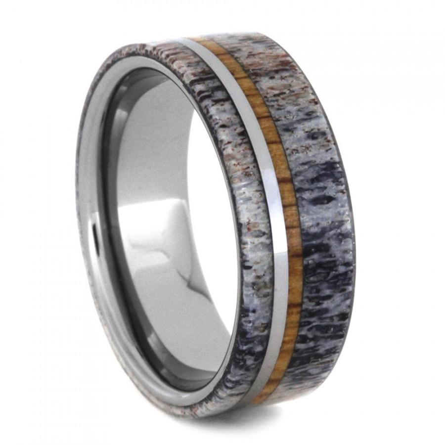Mariage - Mens Tungsten Ring, Deer Antler Wedding Band With Oak Wood And Tungsten Pinstripes