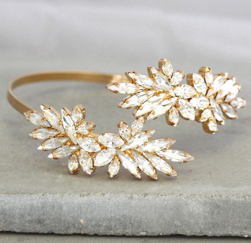 Mariage - Bridal Swarovski Crystal Bracelet,Open Cuff Crystal Bracelet,Swarovski Cuff Bracelet,Upper arm Bracelet,Bridal Cuff Clear Crystal Bracelet
