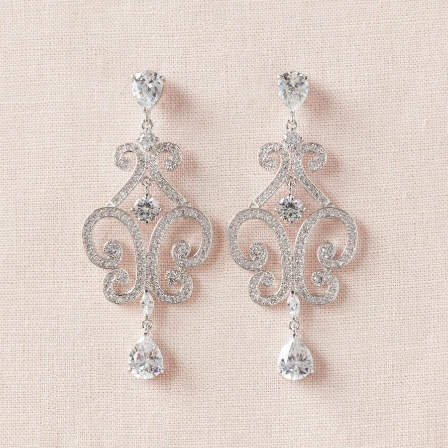 Mariage - Chandelier Bridal Earrings, Crystal Wedding Earrings,  Bridal Jewelry, Wedding Jewellery,  Bridesmaids, Michelle Bridal Earrings