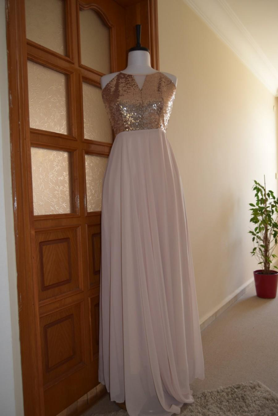 Wedding - Sequin Bridesmaid Dress, Handmade, Champagne, Chiffon, Sleeveless Full Length Sequin Evening Prom Dress, Ballgown Dress, Evening Dress