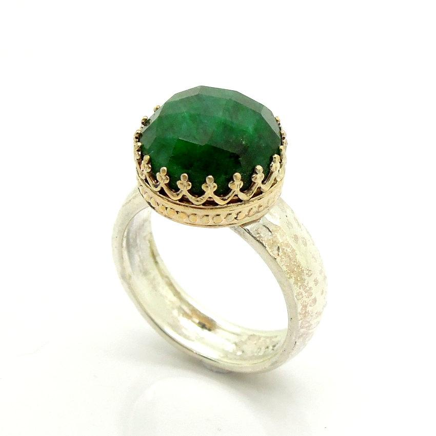 Mariage - Emerald ring set in gold lace and sterling silver