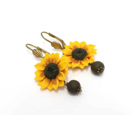 Wedding - Yellow Sunflower Drop Earrings,Yellow Flower Drop Earrings, Jewelry Yellow Sunflower, Wedding Earrings, Summer Jewelry, Bridesmaid Jewelry