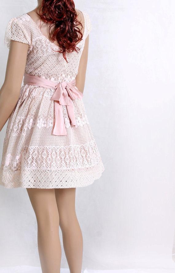 Mariage - Party /peach pink / bridesmaid / party/romantic / cotton lace dress