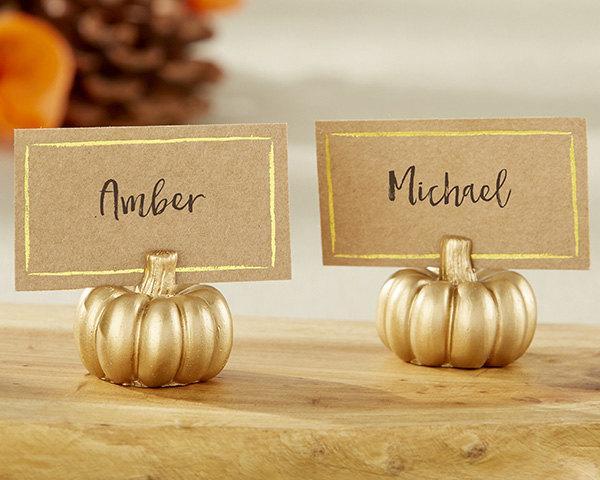 Свадьба - Gold Pumpkin Wedding Place Card Holder with Kraft Place Card (Set of 24) or Gold Pumpking Bridal Shower Place Card Holder