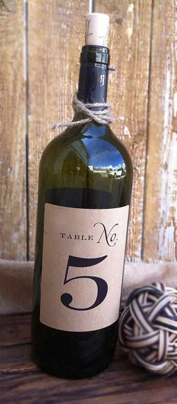 Свадьба - Wine Bottle Table Numbers