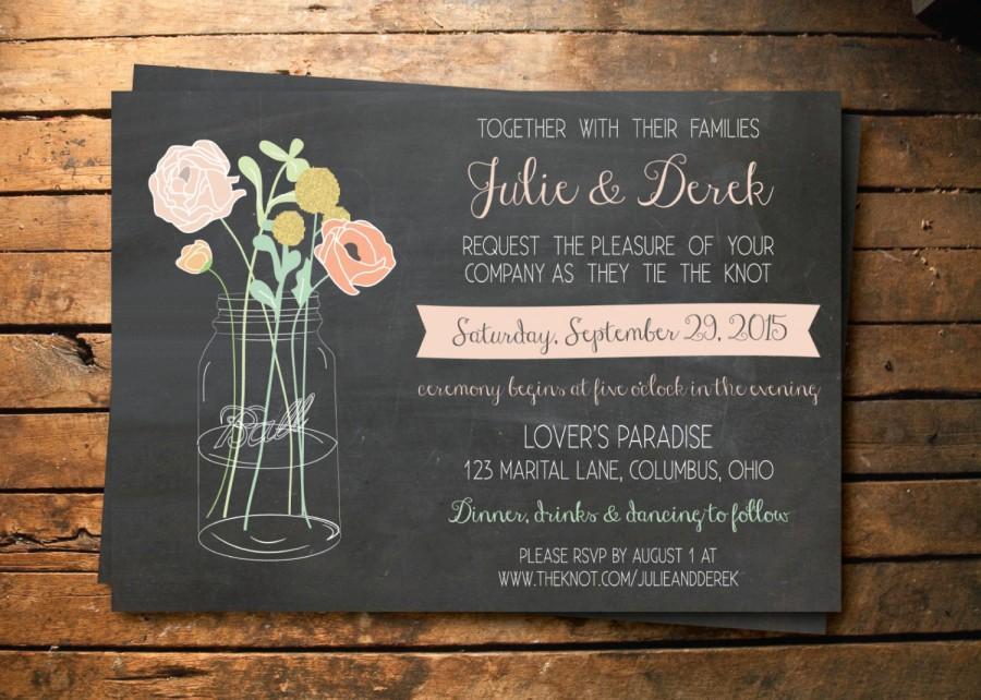 Wedding - Custom Chalkboard Mason Jar Wedding Invitation Printable