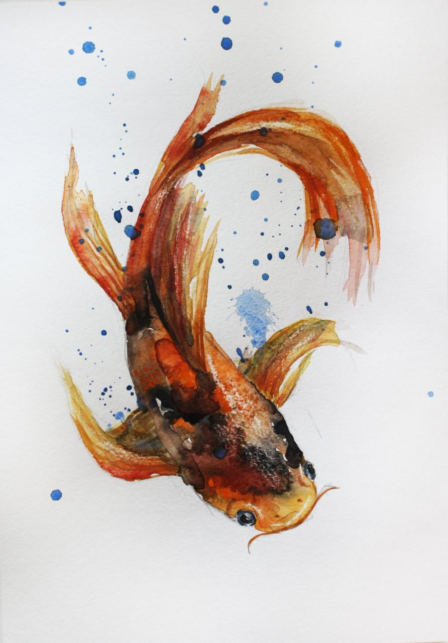 Original Watercolor Painting Koi Fish Gold Fish Sea