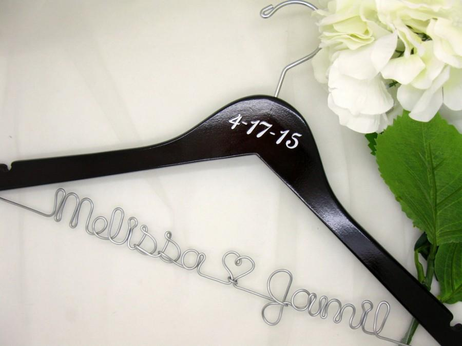 Свадьба - Dark Walnut Personalized Wooden Bridal Hanger with Date Addition, For Bride's Dress, Bridal Pictures, Custom Made