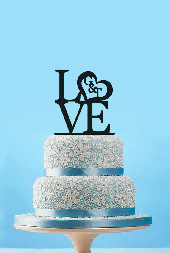 Love Wedding Cake Topper Monogram Initial Personalized Couple Name Romantic Engagement