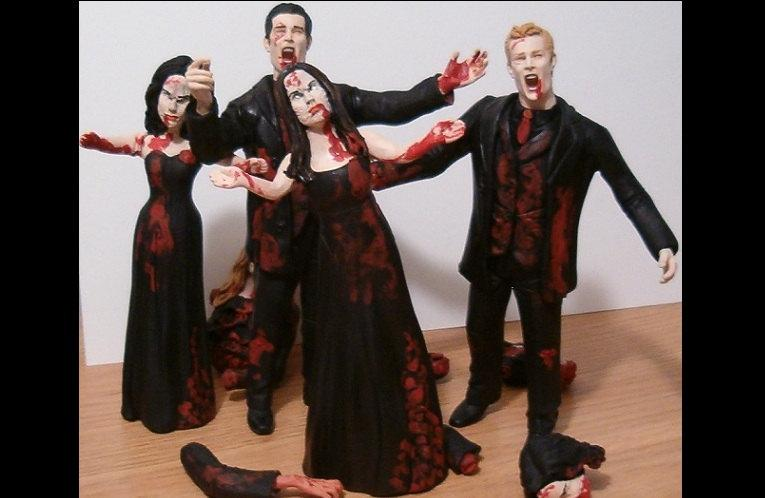 Wedding - Set of 4 Zombie Bridal Party Figurine Cake Toppers - Made to Look Like Your Bridesmaids & Groomsmen