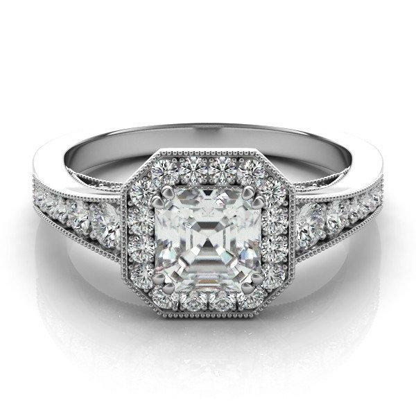 Asscher Cut Forever One Diamond Engagement Ring 14k 18k Or