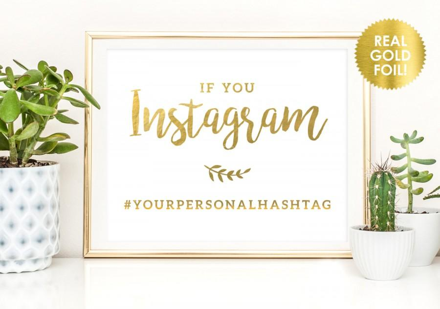 Mariage - Wedding Hashtag Signs in Gold Foil / Custom Wedding Hashtags / Wedding Hashtags in REAL FOIL / Gold Wedding Hashtags / Peony Theme