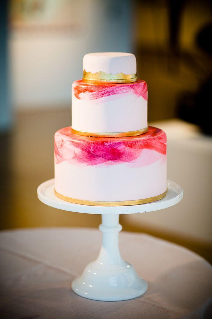Mariage - Modern, Watercolor Brushstroke Wedding Cake