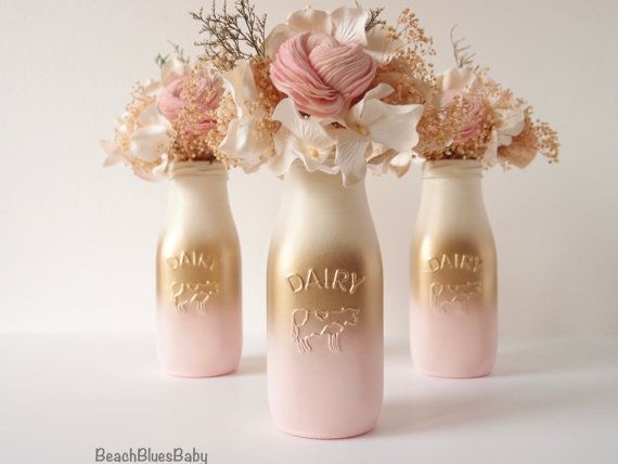 Pink And Gold Baby Shower Decor Centerpiece Girl Painted Milk