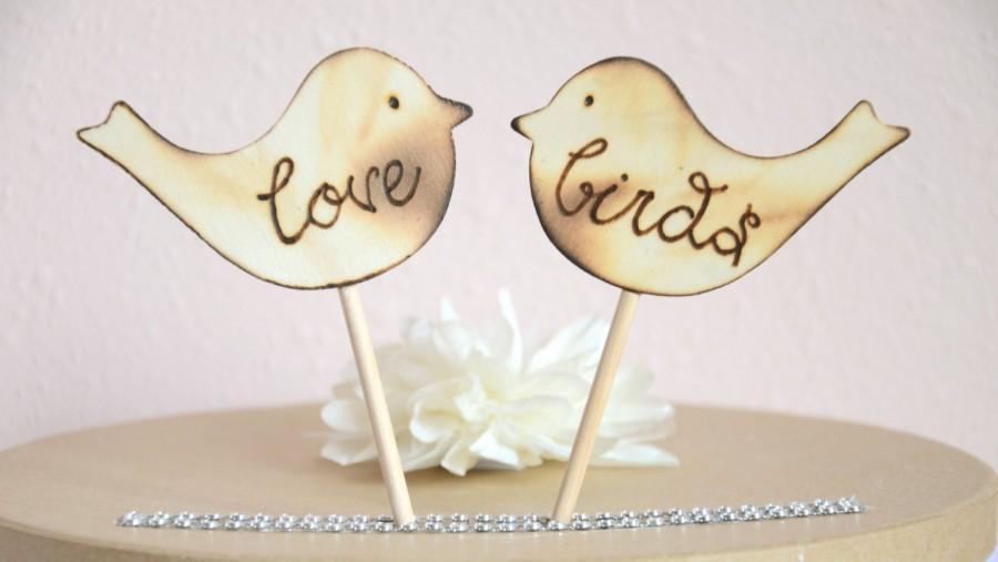 Hochzeit - Love birds wedding cake topper- wooden love birds cake topper