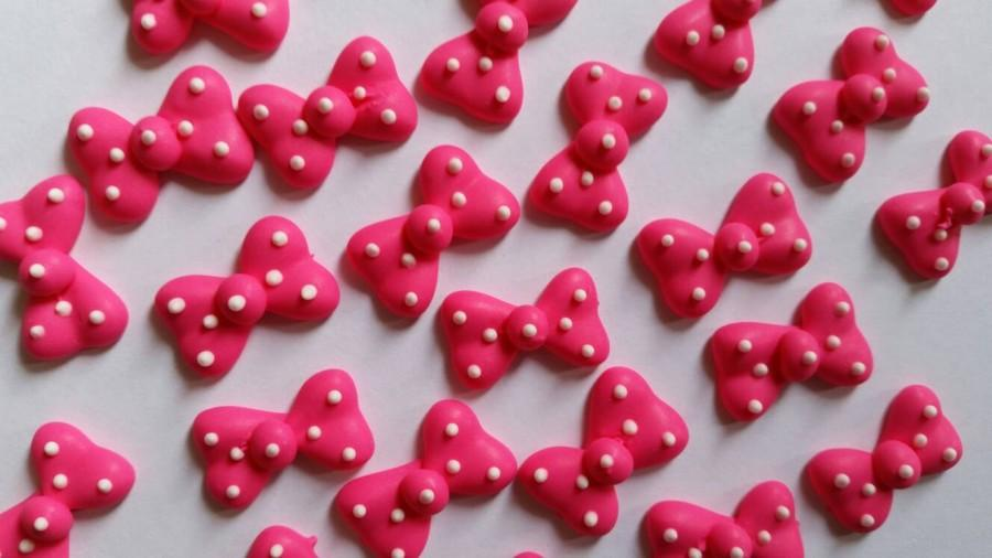 Hot Pink Polka Dot Bows Cupcake Toppers Cake Decorations Cake