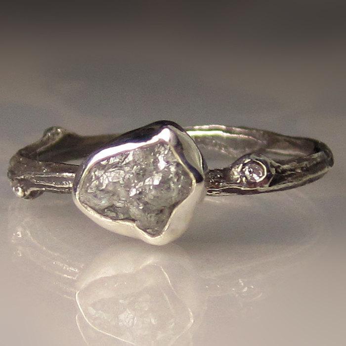 Mariage - Rough Diamond Ring, Raw Diamond Twig Ring, Rough Diamond Engagement Ring