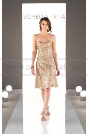 زفاف - Sorella Vita Cocktail Length Sequin Metallic Bridesmaid Dress Style 8793 - Bridesmaid Dresses 2016 - Bridesmaid Dresses