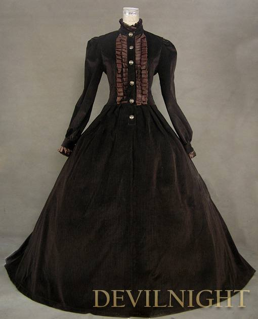 Mariage - Brown Vintage Tudor Long Sleeves Winter Victorian Dress