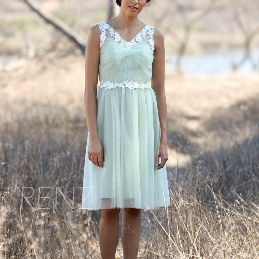 2016 Dusty Shale Bridesmaid Dress, Illusion Lace Neck Wedding Dress ...