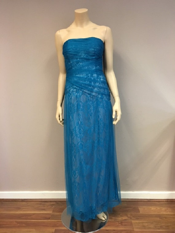 Teal Blue Lace Strapless Long Dress Wedding Party Prom Gown Elegant ...
