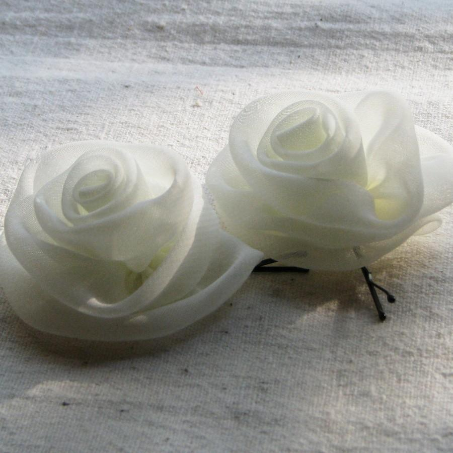 Свадьба - Ivory rose bobby pins, small hair flowers in ivory chiffon fabric, perfect for flower girls, bridesmaids, bridal, or communion, set of 2