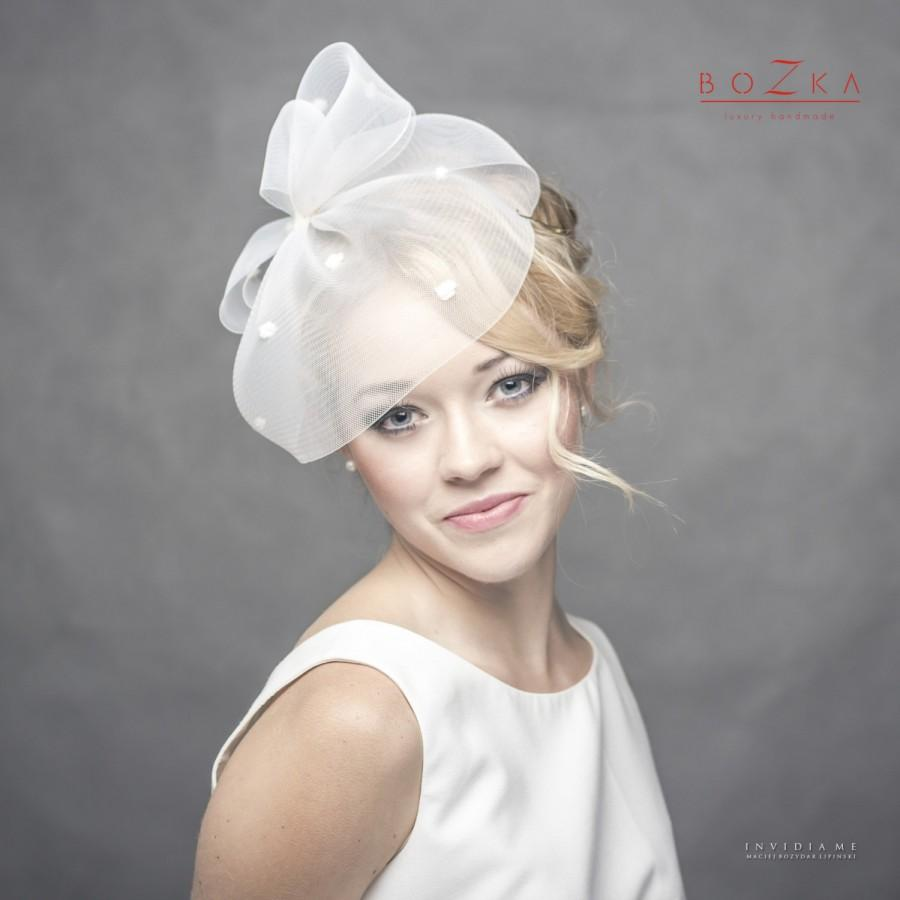 Свадьба - Wedding spotted crin veil, Spotted bridal fascinator made of crin, crin wedding headpiece, wedding veil with bow