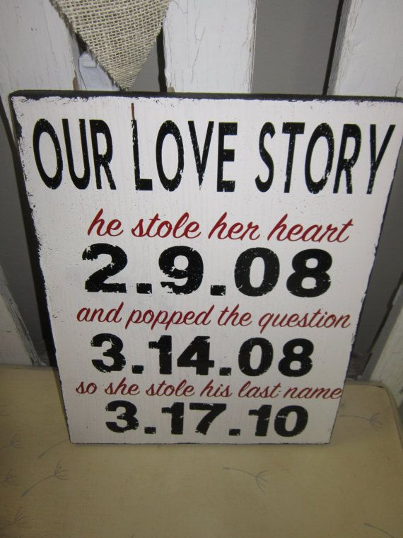 Свадьба - Custom Our Love Story With Dates - He Stole Her Heart - He Popped The Question - She Stole His Last Name - Wedding Gift -Engagement Gift
