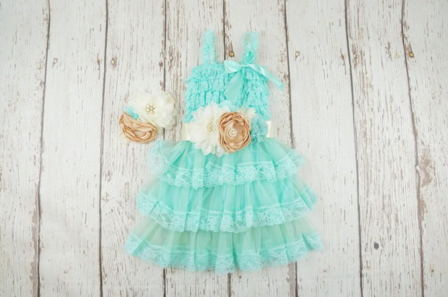 Wedding - aqua flower girl dress, flower girl dress, flower girl dress, baby lace dress, girls lace dress, rustic chic flower girl, turquoise dress