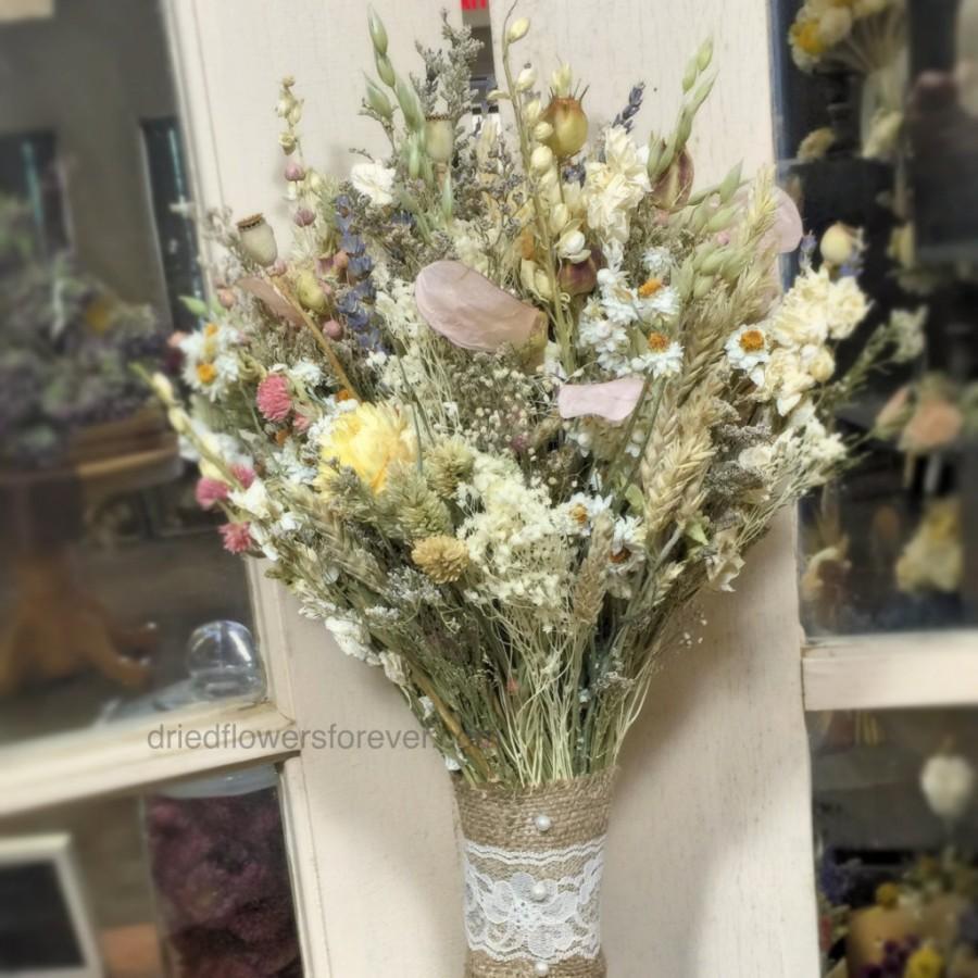 Dried Flower Wedding Bouquet Blush Ivory White Lavender