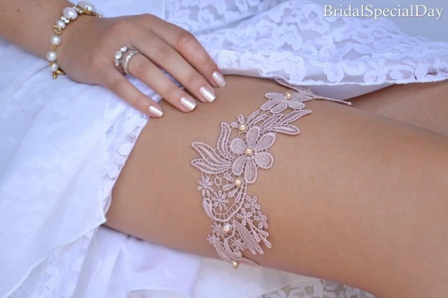 Wedding Garter Set Lace Nude Pink Bridal