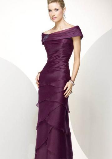 Wedding - Zipper Purple Off The Shoulder Tiers Chiffon Floor Length