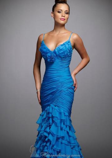 Hochzeit - Zipper Spaghetti Straps Sleeveless Tiers Blue Floor Length Chiffon Mermaid
