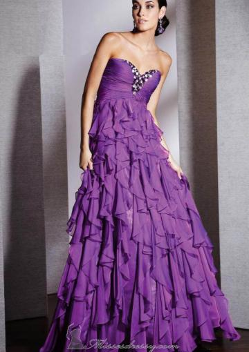 Wedding - Sweetheart Ruffles Purple Sleeveless Floor Length