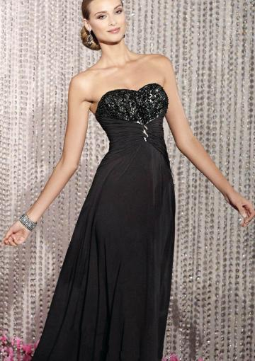 Wedding - Sweetheart Sleeveless Lace Up Chiffon Black Floor Length