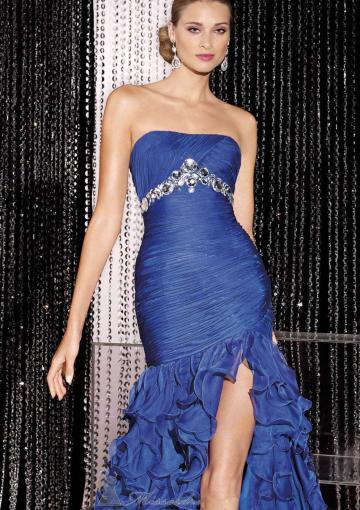 Wedding - Strapless Ruffles Zipper Blue Split Front Sleeveless Floor Length