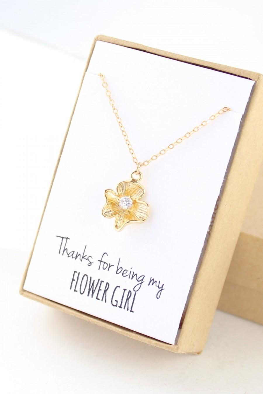 زفاف - Flower Girl Gift - Flower Girl Necklace - Thanks for Being My Flower Girl (Gold Pansy Necklace)