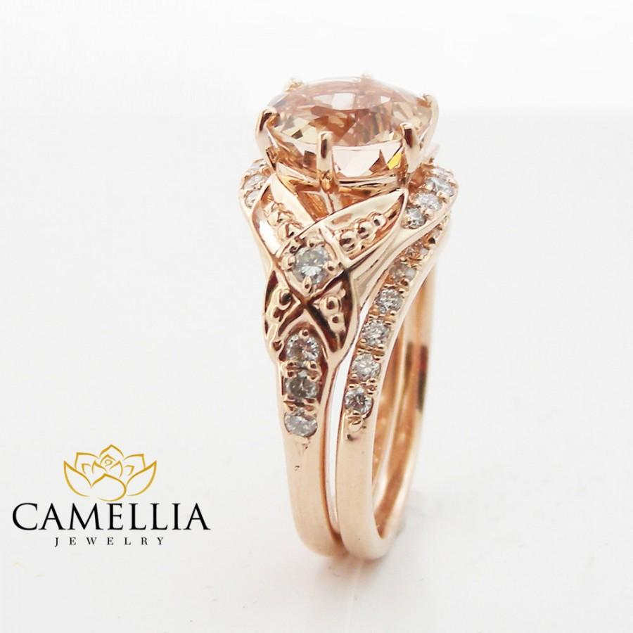 Floral Morganite Engagement Ring Diamond Wedding Band