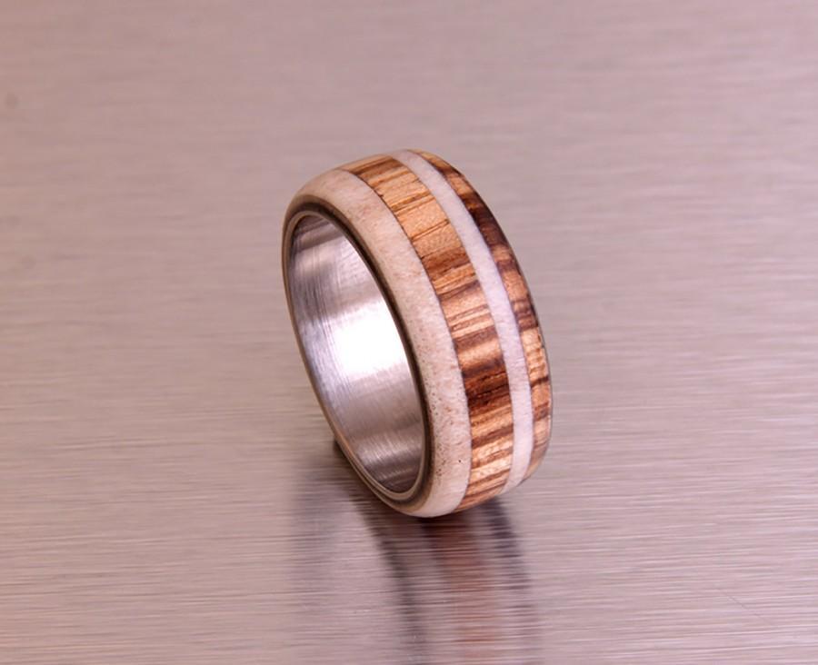 Свадьба - antler ring titanium ring with wood zebra deer antler band mens wedding band