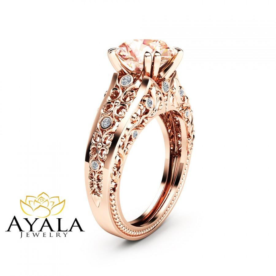 زفاف - 2 Carat Morganite Engagement Ring 14K Rose Gold Morganite Ring Filigree Rose Gold Engagement Ring