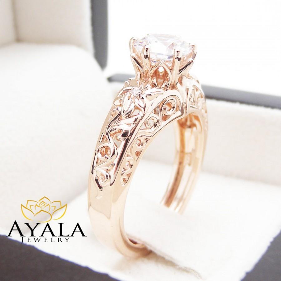 زفاف - 14K Rose Gold Diamond Engagement Ring Unique Round Cut Diamond Ring Art Deco Styled Engagement Ring
