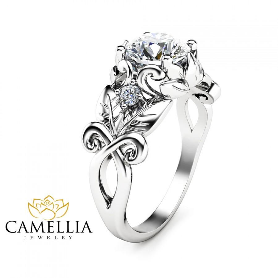 زفاف - 14K White Gold Moissanite Engagement Ring Leaf Engagement Ring Unique Moissanite Ring