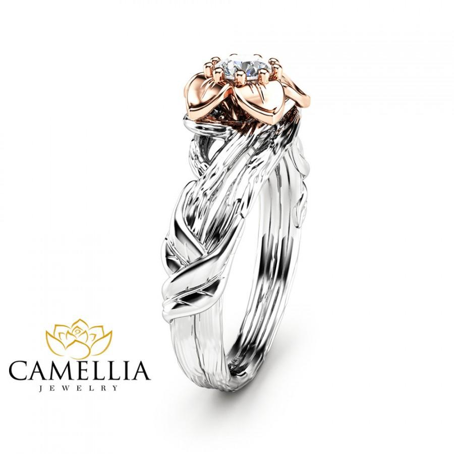 زفاف - Natural Diamond Flower Engagement Ring in 14K Two Tone Gold Inspired by Nature Branch Ring Unique Design Engagement Ring