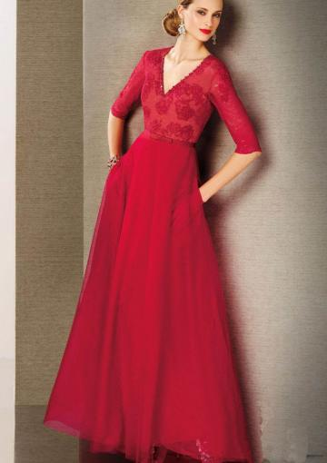 Wedding - V-neck Zipper Short Sleeves Red Lace Chiffon Floor Length