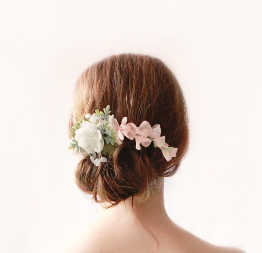 Hochzeit - Pink and white flower clip, Floral bridal clip, Pastel wedding hair accessory, Updo side bun back clip